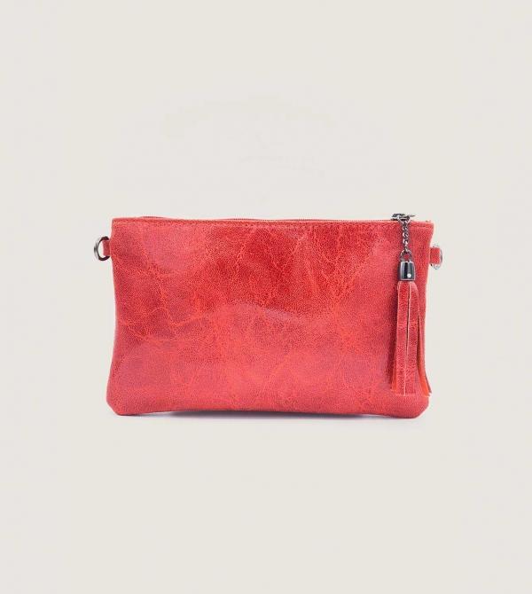 Pochette Pelle Rossa con Tracolla Nicol Caramel Milano