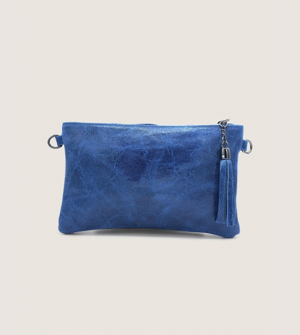 Pochette Pelle Blu con Tracolla Nicol Caramel Milano