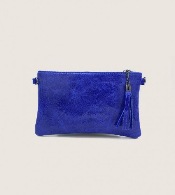 Pochette in Pelle Blu Elettrica con Tracolla Nicol Caramel Milano