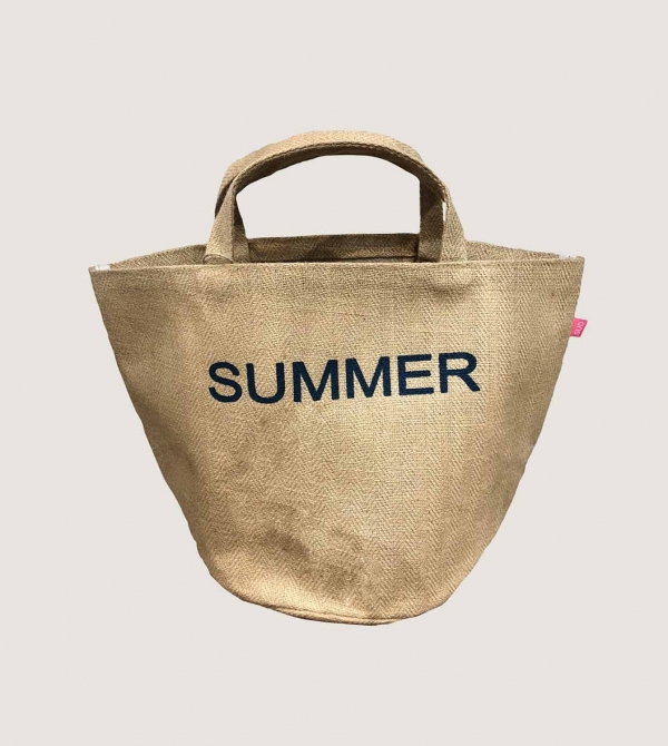 Shopping Bag in Jute Spigata Nicol Caramel Milano