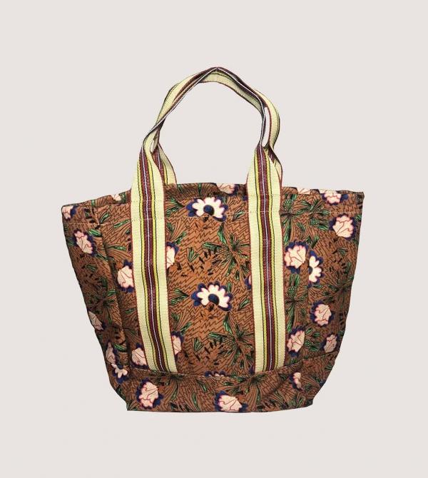 Shopping Bag con Stampa Floreale Nicol Caramel Milano