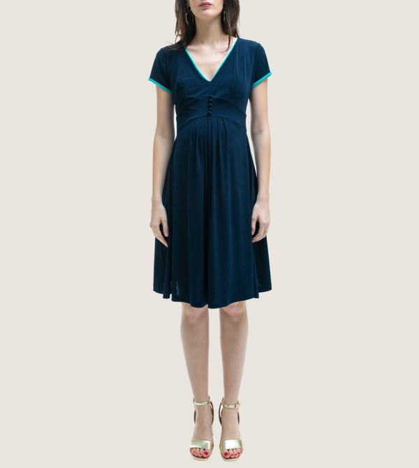 Blue Maternity Dress Buttons Nicol Caramel Milano