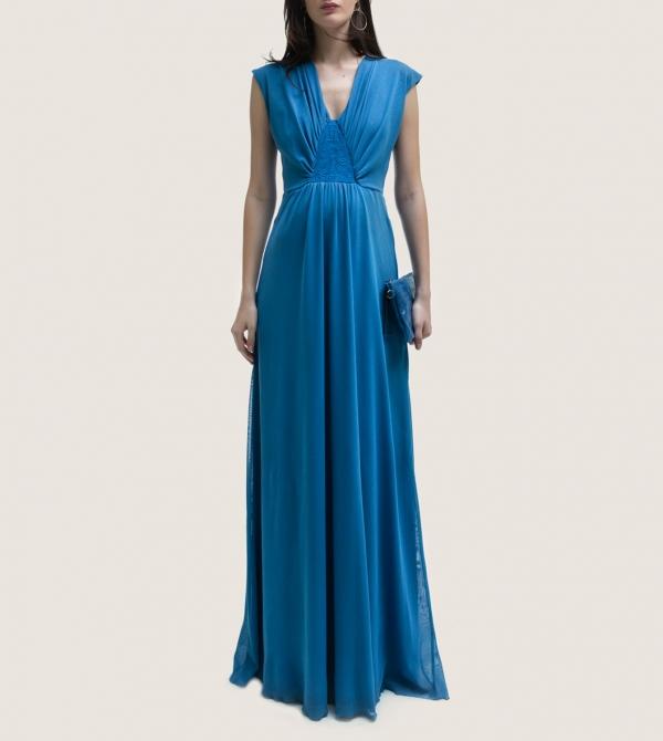 Formal Long Maternity Dress Blue Nicol Caramel Milano