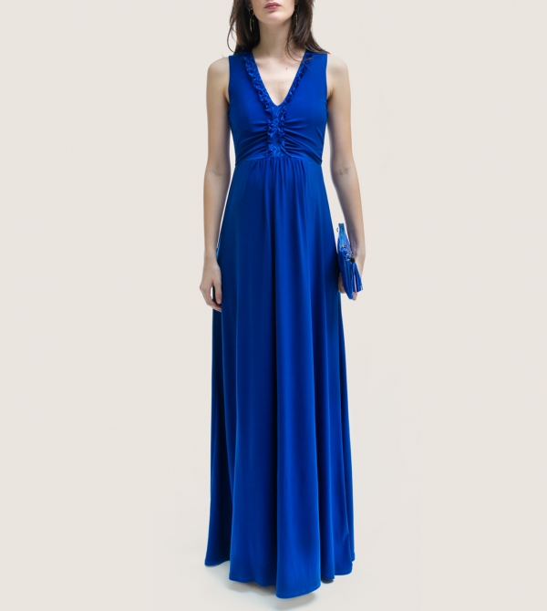 Formal Long Maternity Dress Electric Blue Nicol Caramel Milano