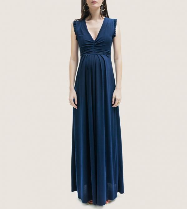 Formal Long Maternity Dress Navy Blue Nicol Caramel Milano