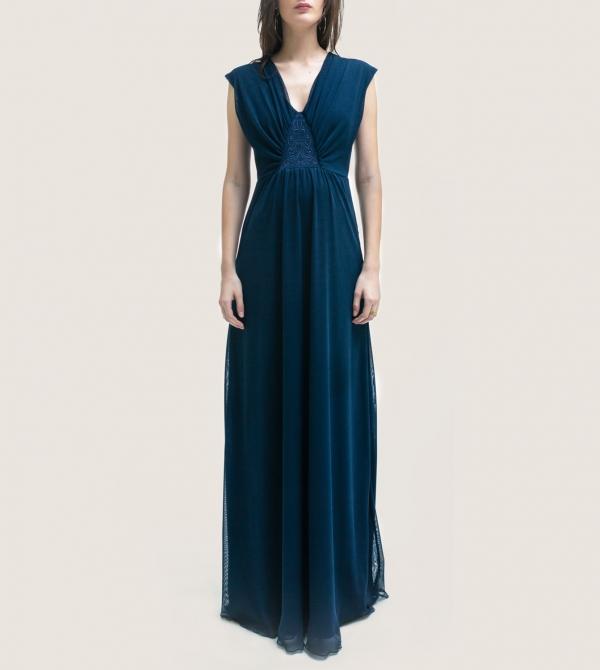Formal Long Maternity Dress Navy Nicol Caramel Milano