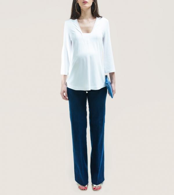 Jeans Maternity Wide Leg Stretch Nicol Caramel Milano