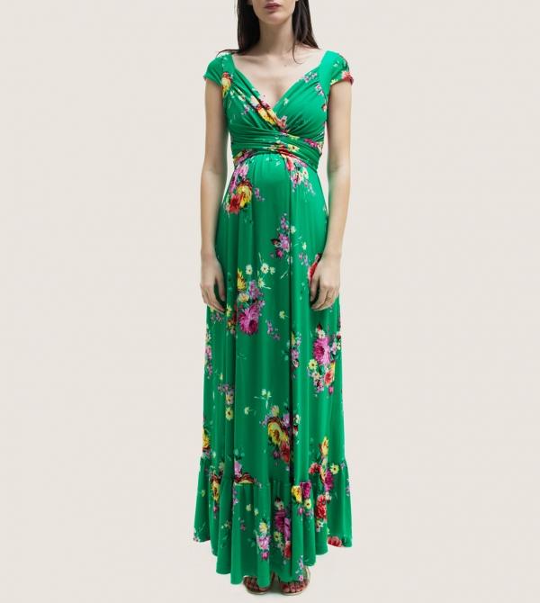Long Green Printed Maternity Dress Nicol Caramel Milano
