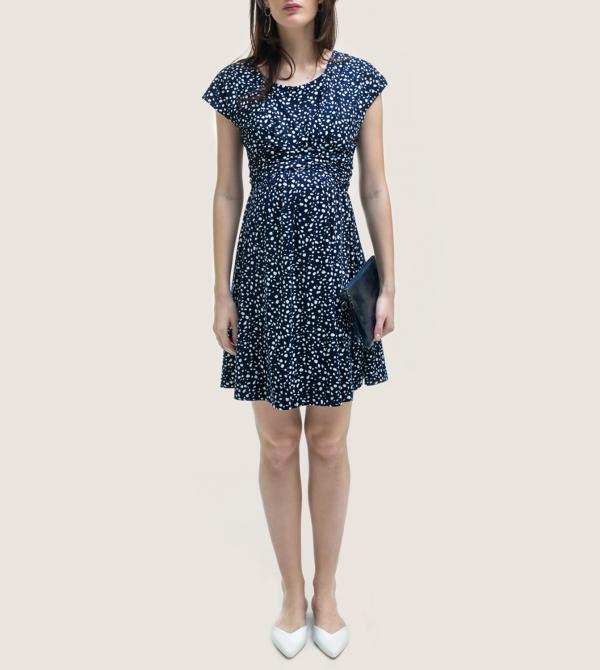 Short Maternity Dress Blue White Nicol Caramel Milano