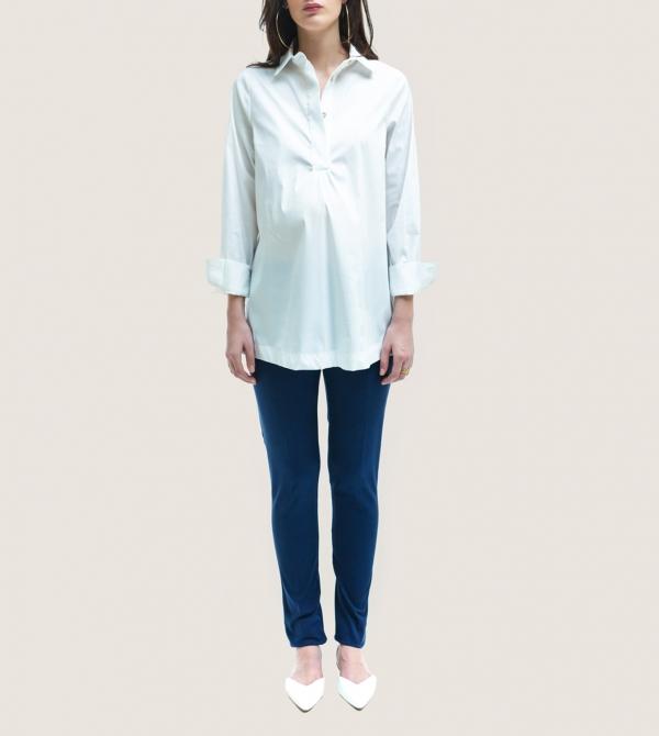 Maternity Skinny Pants in Soft Blue Nicol Caramel Milano
