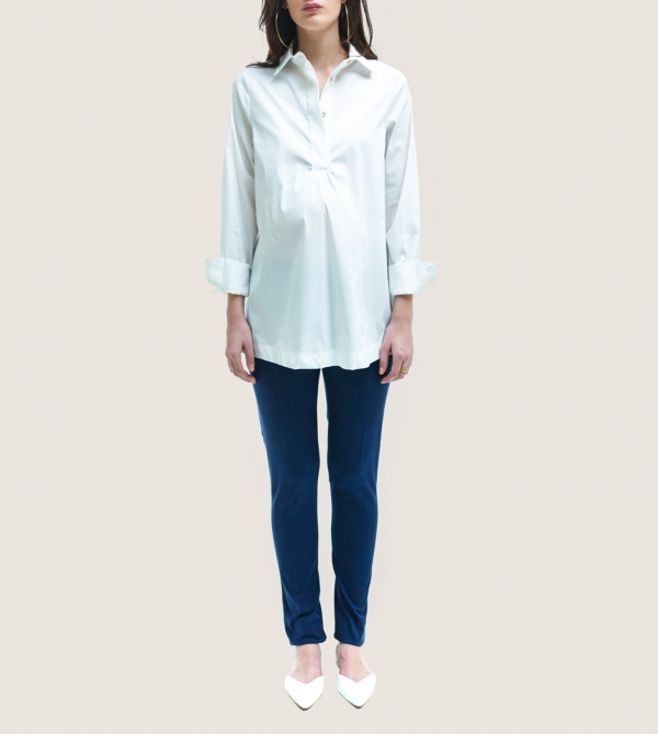 White Maternity Poplin Shirt Nicol Caramel Milano