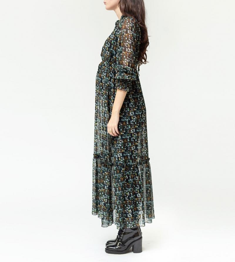 Abito premaman fashion in georgette stampa mosaico Nicol Caramel Milano