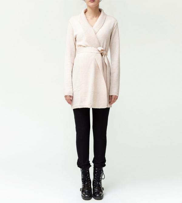 Cardigan premaman in pura lana merinos color cipria