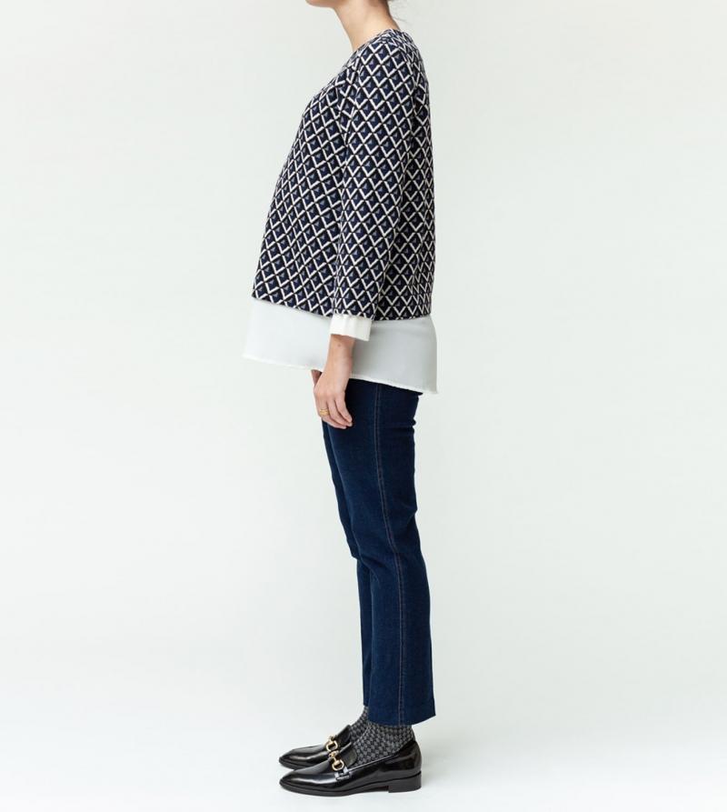 Jeans premaman modello crop stretch a vita alta Nicol Caramel Milano