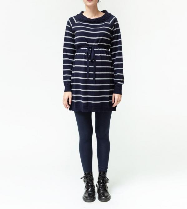 Mini abito premaman in pura lana merino blu/grigio Nicol Caramel Milano