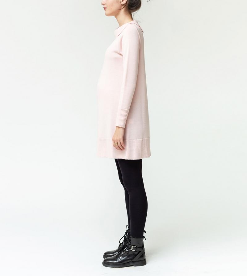 Miniabito premaman in pura lana merino Nicol Caramel Milano