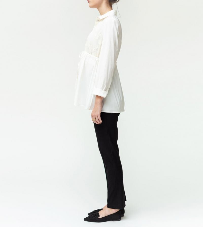 Pantalone premaman crop vita alta in tessuto stretch Nicol Caramel Milano