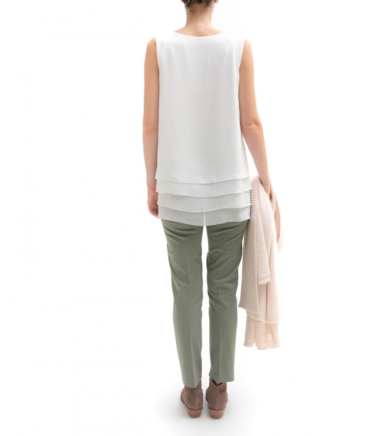 pantalone premaman in cotone a vita alta crop verde salvia nicol caramel milano