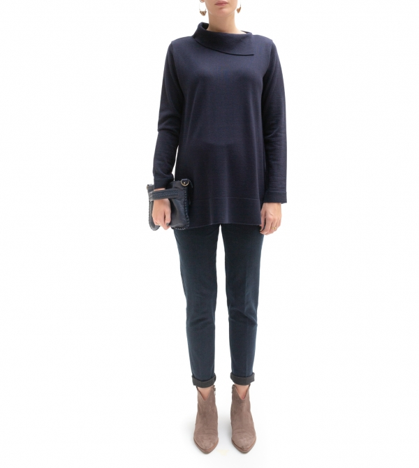 Jeans premaman crop a vita alta con interno pied de poule - nicol caramel milano