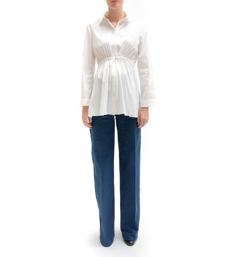 Camicia premaman bianca con coulisse in vita - Nicol Caramel Milano