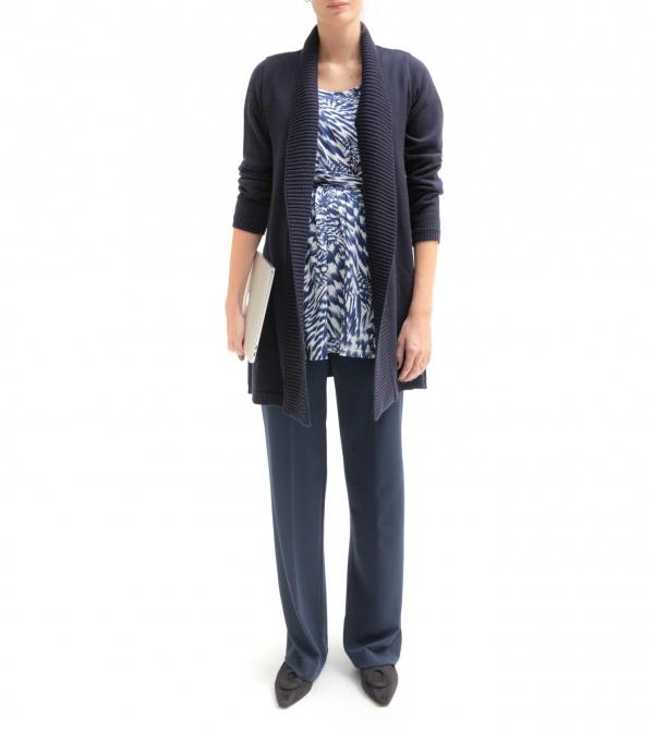 Cardigan premaman blu scuro in pura lana merinos extrafine - Nicol Caramel Milano