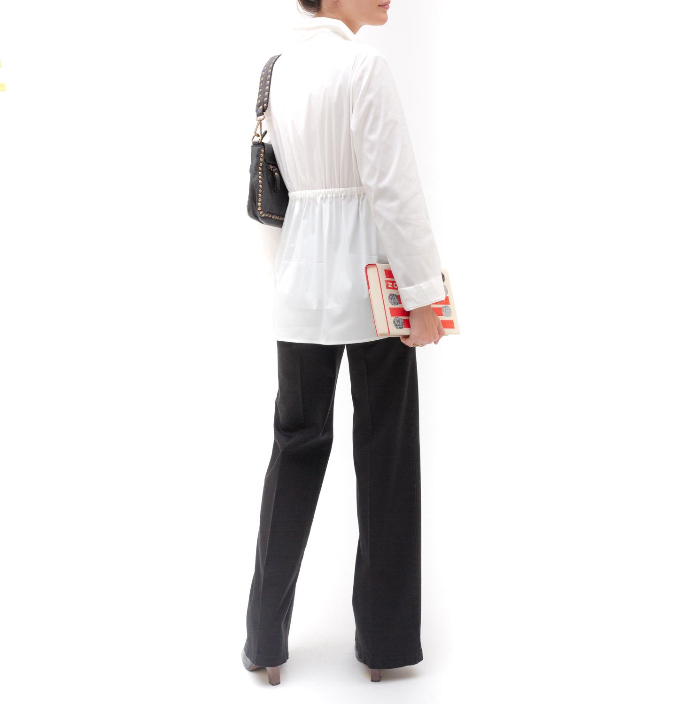 pantalone premaman palazzo a vita alta in cotone - nicol caramel milano