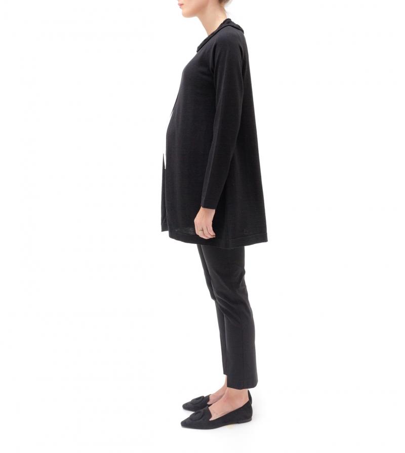 Pantalone premaman a vita alta in tessuto tecno-stretch nero - Nicol Caramel Milano
