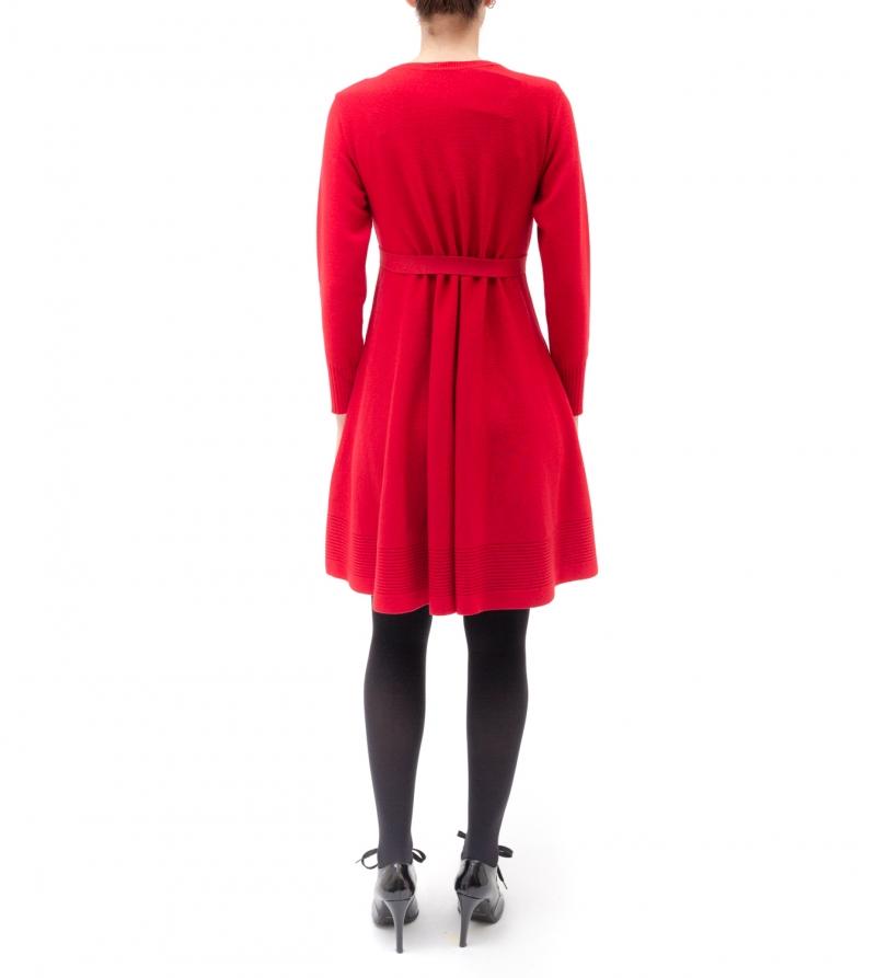 Abito premaman svasato rosso in pura lana merino extrafine Nicol Caramel Milano